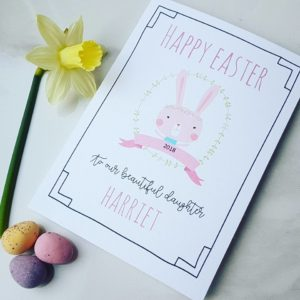 Personalised Bunny Wreath Easter Card