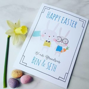 Personalised Bunnies Easter Card