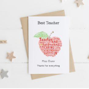 Personalised Apple Teacher card