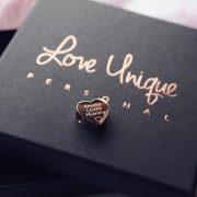 Rose Gold 3D Heart Bracelet Charm