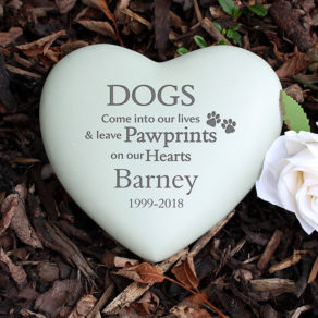 Dog Pawprints Personalised Heart Memorial