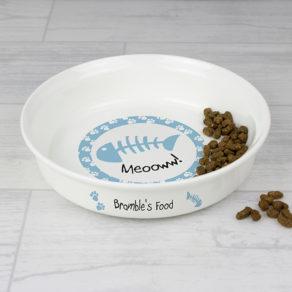 Personalised Blue Cat Bowl