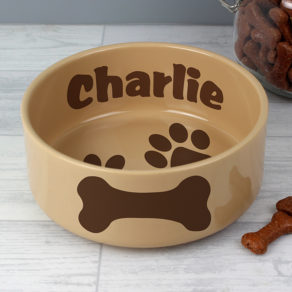 Large Brown Paws Personalised Dog Bowl