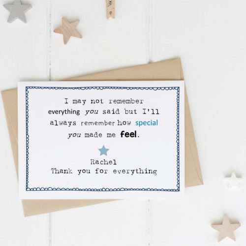'I May Not Remember' Personalised Teacher Card