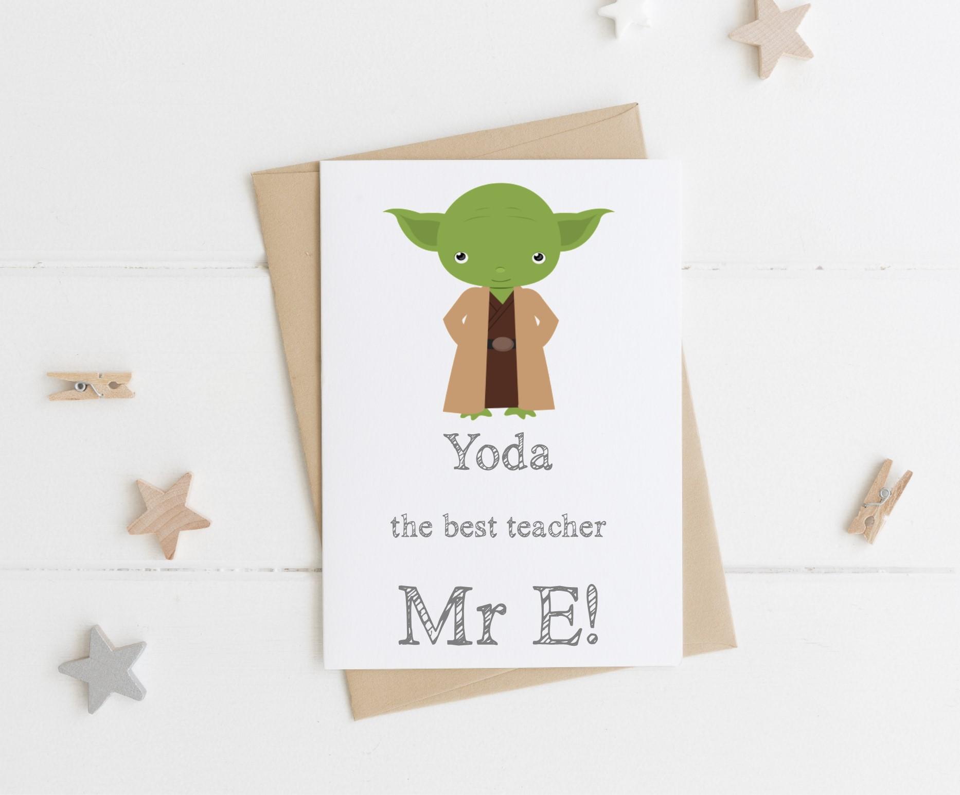 Yoda the best' Teacher Card | Unique Personal