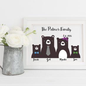 Personalised Family Bear Print