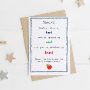 'Taken My Hand' Personalised Teacher Card