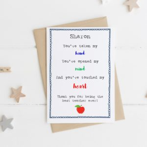 'Taken My Hand' Personalised Teacher Card