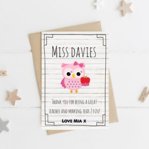 Personalised 'Owl' Teacher Card