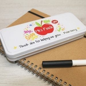 Personalised Teacher Pencil Tin - Bright Design