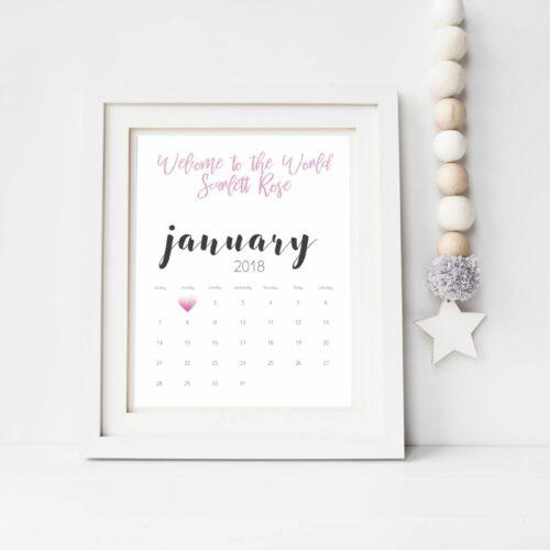 Personalised 2018 Calendar Print