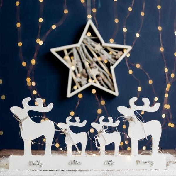 Freestanding Personalised Christmas Reindeer Family