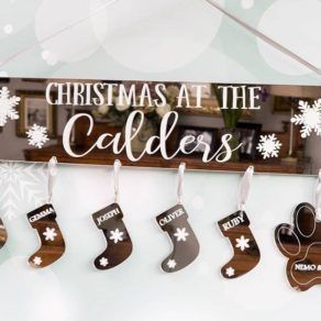 Personalised Family Christmas Hanging Plaque