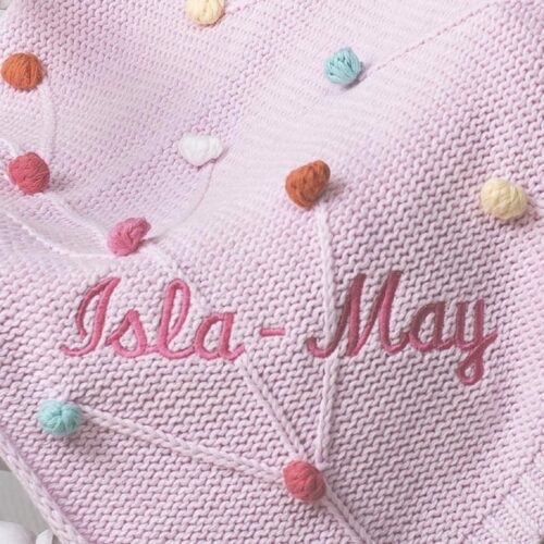 Bizzi Growin Personalised Pink Bobble Knitted Baby Pram Blanket