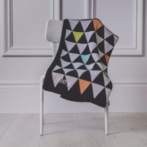 Personalised Triangle Knitted Baby Pram Blanket