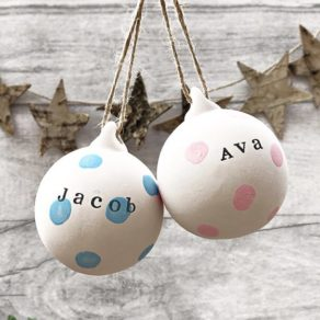 Personalised Polkadot Ceramic Bauble Pair