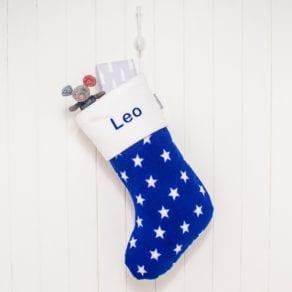 Personalised Royal Blue Stars Fleece Christmas Stocking