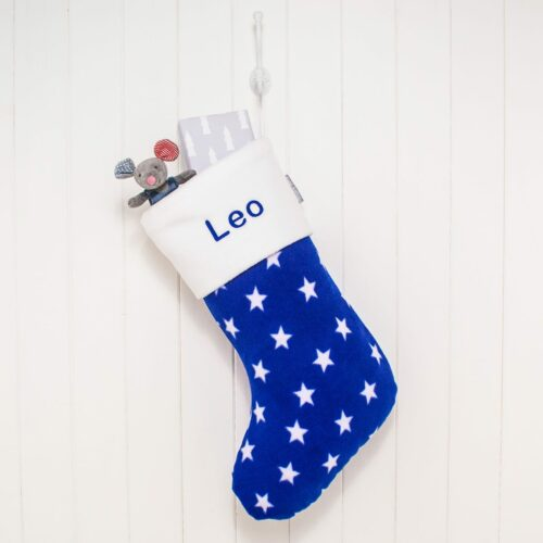 Personalised Royal Blue Stars Fleece Christmas Stocking