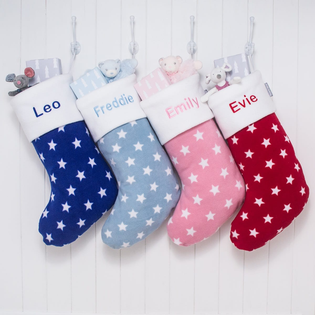 Personalised Blue Stars Fleece Christmas Stocking | Love Unique ...