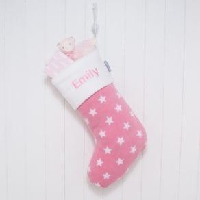 Personalised Pink Stars Fleece Christmas Stocking