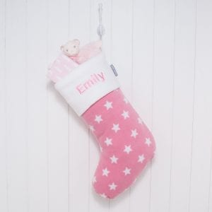 Personalised Pink Stars Fleece Christmas Stocking