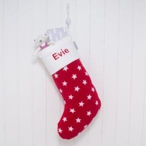 Personalised Red Stars Fleece Christmas Stocking