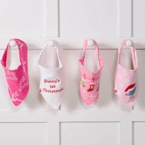 Zippy Personalised 4 Pack Christmas Girls Baby Bandana Bibs