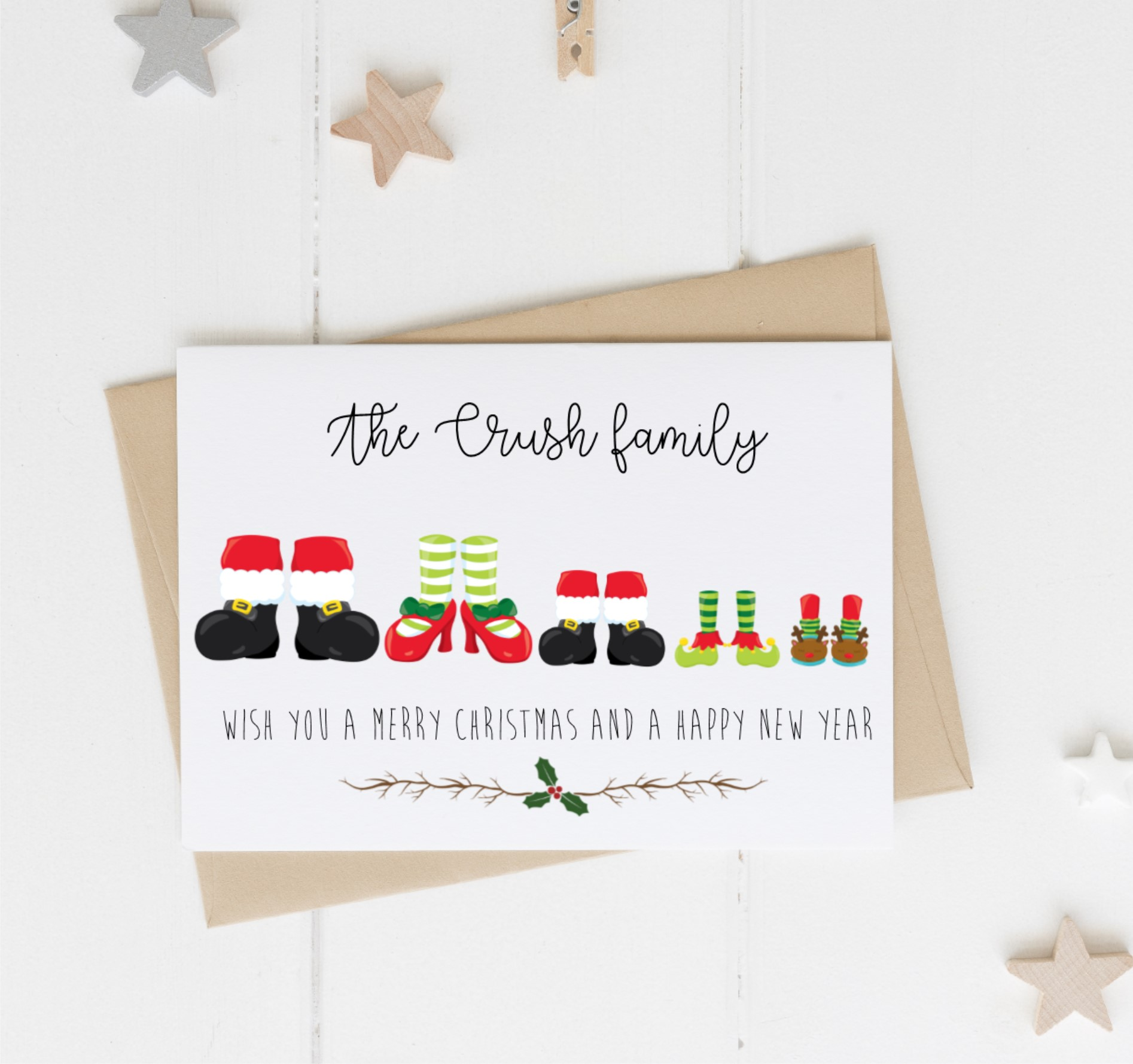 Personalised Feet Christmas Cards Pack of 10 | Love Unique Personal