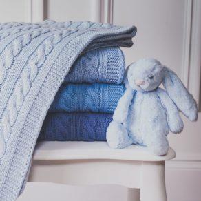 Toffee Moon Blue Personalised Knitted Baby Pram Blanket