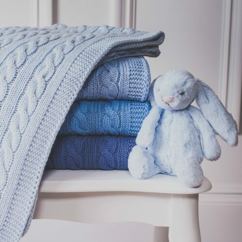 Toffee Moon Blue Personalised Knitted Baby Pram Blanket