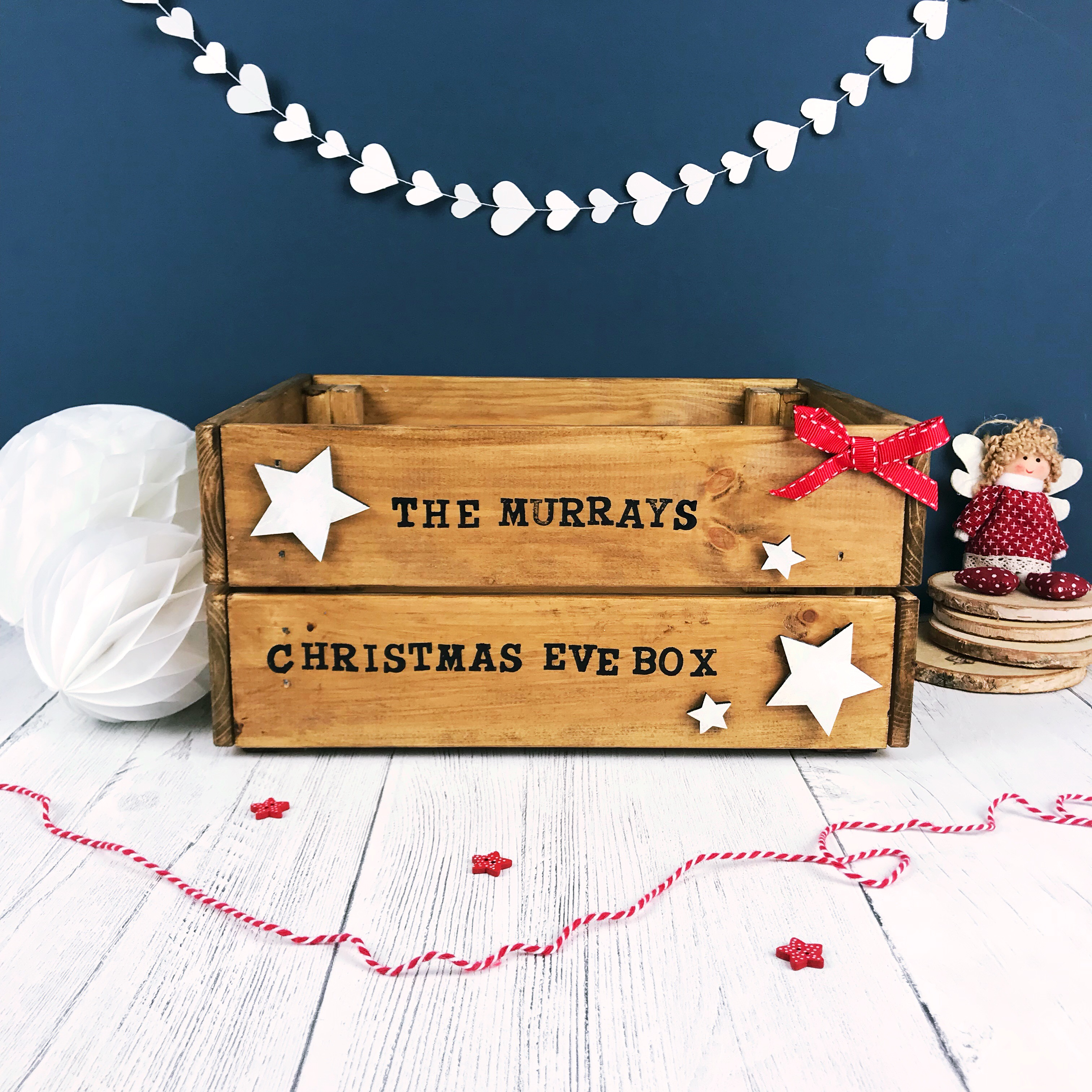 Christmas Eve Crate.Dark Oak Personalised Family Christmas Eve Crate
