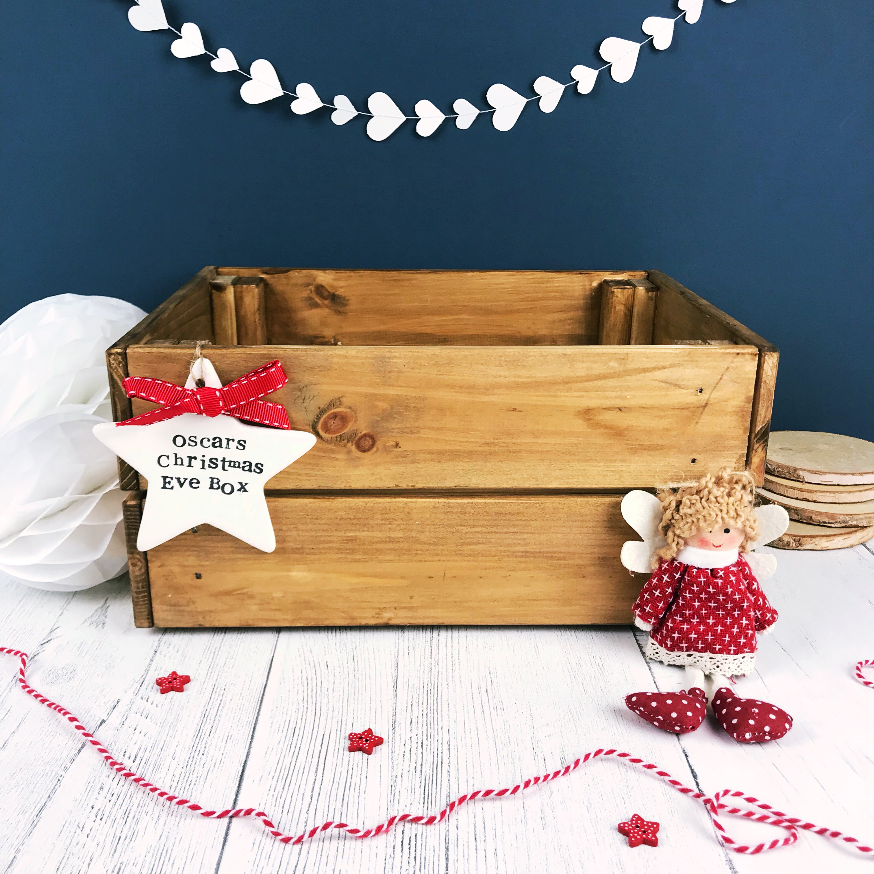 Christmas Eve Crate.Wooden Personalised Christmas Eve Crate