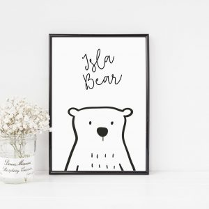 Personalised Monochrome Bear Print