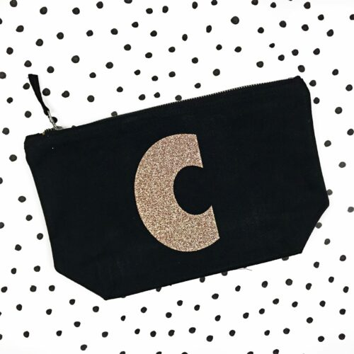 Sparkly Letter Personalised Makeup Bag