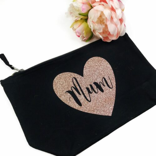 Mum Rose Gold Glitter Makeup Bag