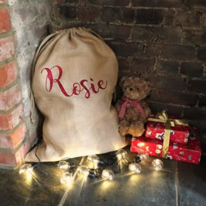 Personalised Glitter Writing Hessian Christmas Sack