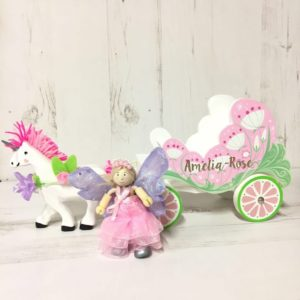 Personalised Unicorn & Carriage with Fairy Toy