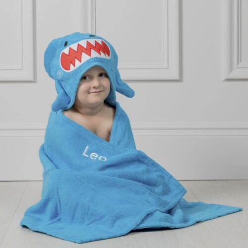 Personalised Zoocchini Blue Sherman Shark Toddler Hooded Towel