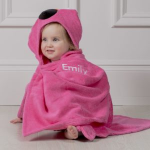 Personalised Zoocchini Pink Franny The Flamingo Toddler Hooded Towel
