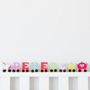 Light Pastel Colours Wooden Letter Train