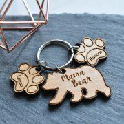 Mama Bear Wooden Keyring