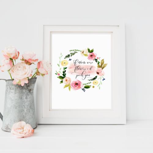 Mum Floral Wreath Personalised Print