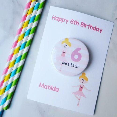 Ballerina Birthday Badge Card