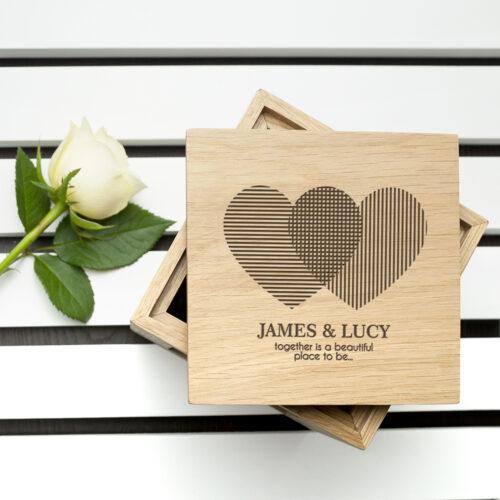 Engraved Heart Venn Diagram Oak Photo Cube