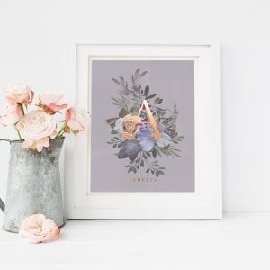 Personalised Floral Alphabet Print