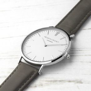 Personalised Download Product Image Men's Modern-Vintage Personalised Leather Watch In Ash Product Specification Length: 24cm Width: 4cm Height: 0.6cm Weight : 35g Shipping Weight: 250g Product Description These beautiful modern-vintage watches by Mr Beaumont are carefully personalised by our craftsmen to create the ultimate gift for him. Mr Beaumont watches are modern in design but with classic, timeless touches - making them a gift that will stand the test of time. Made from genuine leather and with a large 41mm dial with metalic silver details this watch certainly makes a statement. Personalise the watch on the reverse with a message up to 5 lines. The message is carefully engraved onto the back of the watch, meaning your special message will forever be remembered. The watch is beautifully presented in Mr Beaumont's trademark gift box and leather watch protector. Case Width: 41 mm Case Depth: 6mm Overall Width: 23.5 cm Men's Modern-Vintage Personalised Leather Watch In Ash