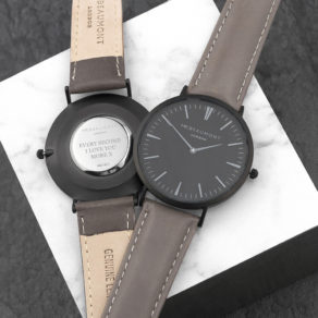 Personalised Modern-Vintage Men's Watch With Black Face in Ash