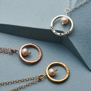Personalised Pearl & Circle Necklace