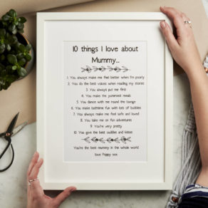 Personalised Ten Things I Love About Mummy Print