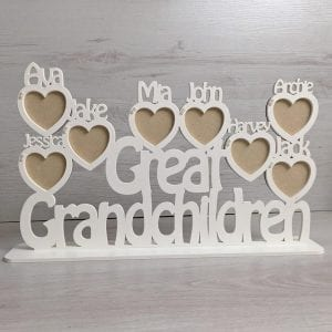 Personalised Any Word Heart Photoframe Plinth
